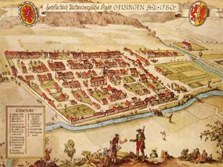 Ansicht Geisingen aus dem Jahre 1780