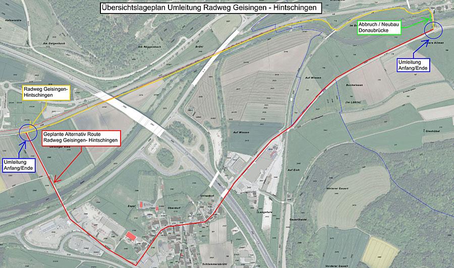 Übersichtsplan - Umleitung (Quelle: Gemeinde Immendingen)