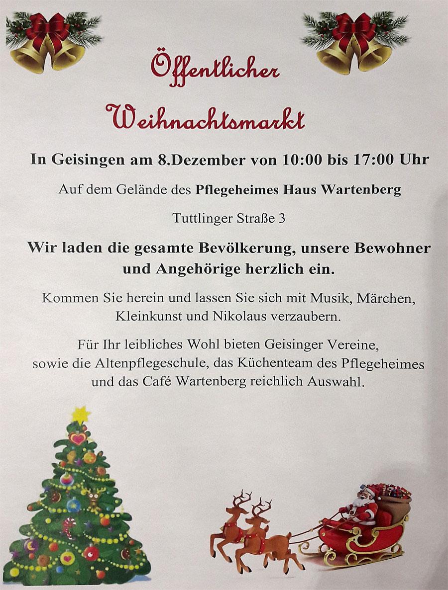 Flyer Weihnachtsmarkt Pflegeheim Geisingen