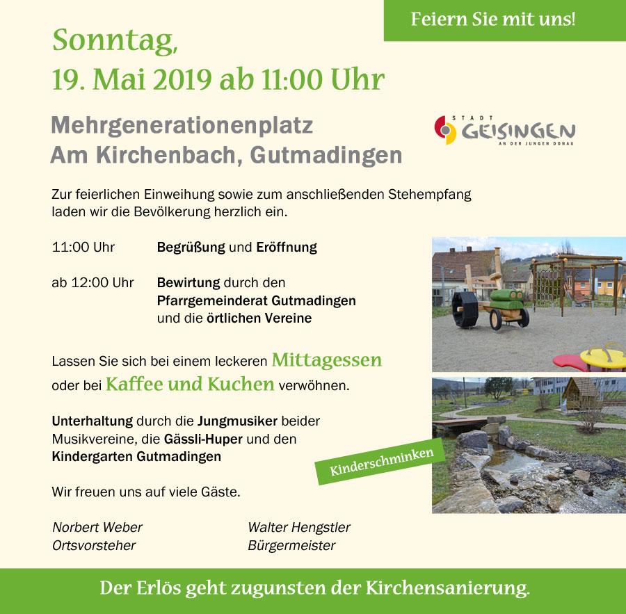 Flyer Einweihung Mehrgenerationenplatz Am Kirchenbach Gutmadingen