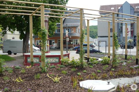 Das neue Pflanzenspalier auf dem Postplatz Geisingen