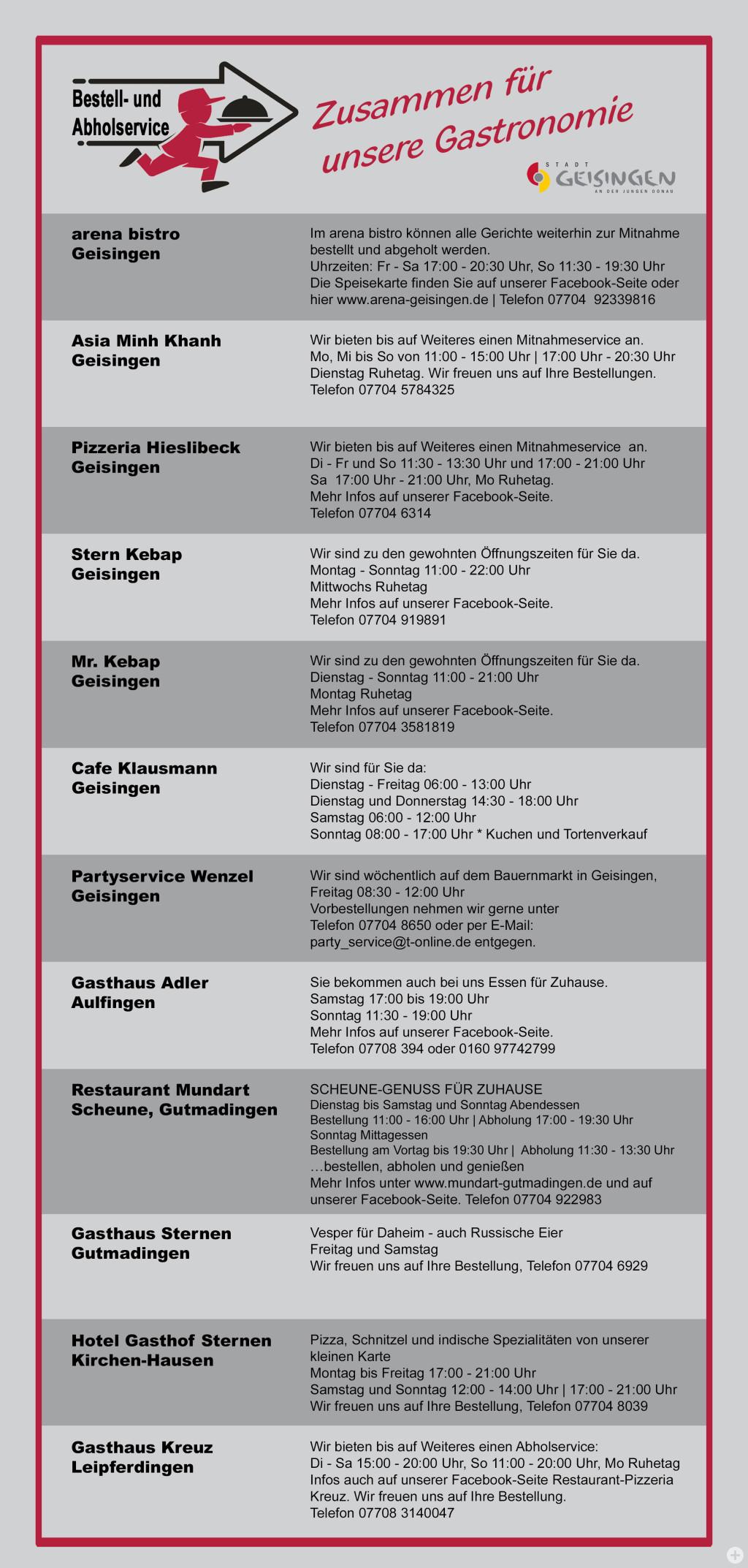 Bestell- und Abholservice Gastronomie Geisingen