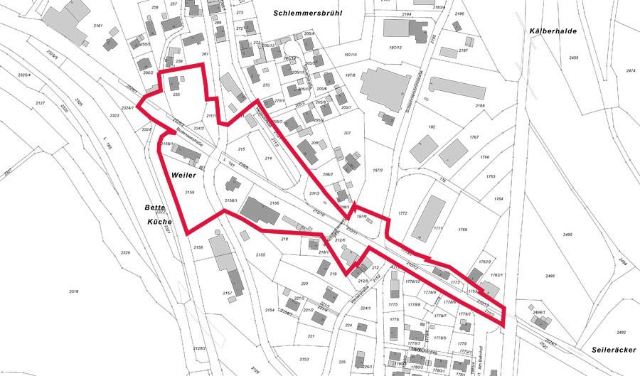 Abgrenzungsplan Bebauungsplan Bodenseestraße