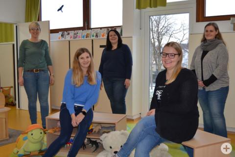 """Die  neuen  Erzieherinnen  in  der  """"Villa  Kunterbunt""""  sind  (von  links):  Kathrin  Paulus,  Nicole  Hirth,  Jennifer  Ladwig,  Bianca  Bitsch und Sina Jagusch."""