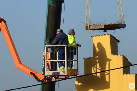 Das neue Storchennetz wird auf dem Zinnengiebel montiert.