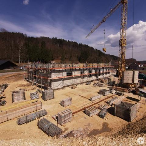 Der Rohbau des neuen Wasserwerks in Aulfingen.