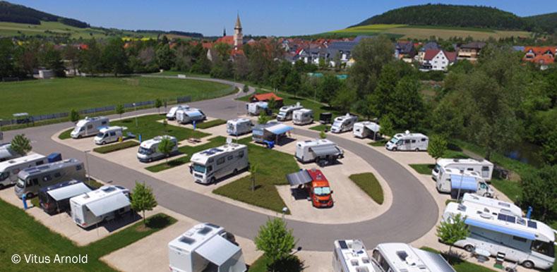 Luftaufnahme vom Reisemobilstellplatz Geisingen