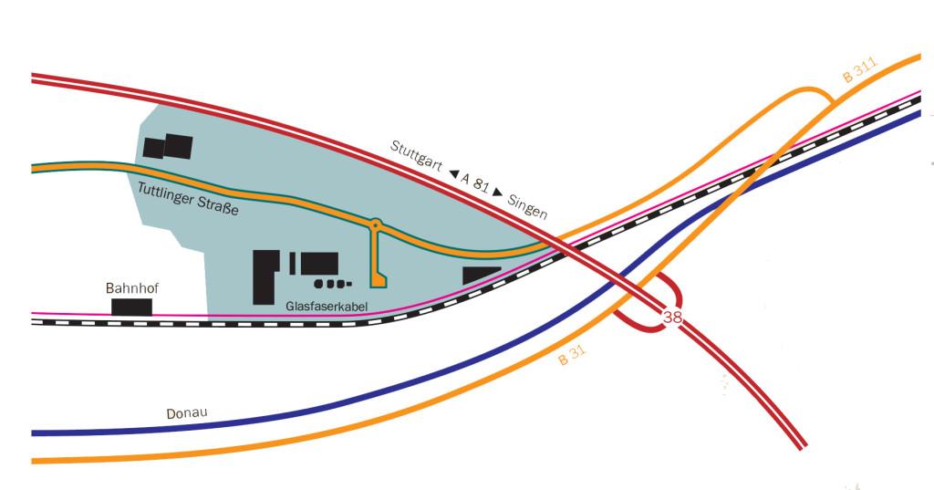 Lageplan des Gewerbe- und Industriegebiets DANUVIA81