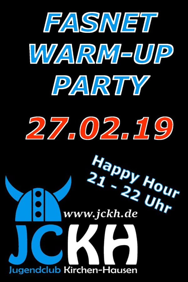 Flyer Jugendclub Kirchen-Hausen Fasnet Warm-Up Party