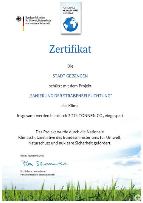 Zertifikat vom Bundesministerium für Umwelt, Naturschutz und nukleare Sicherheit