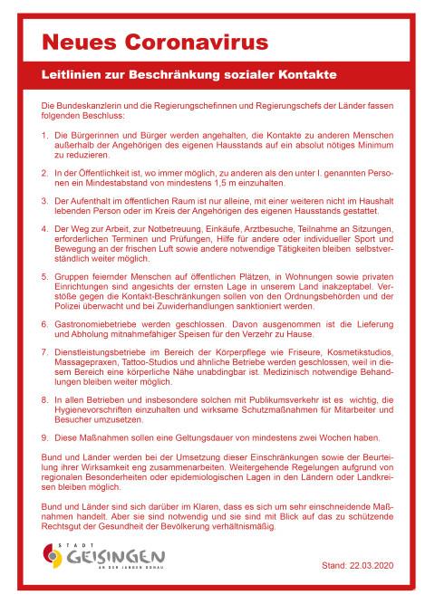 Leitlinien zur Beschränkung sozialer Kontakte