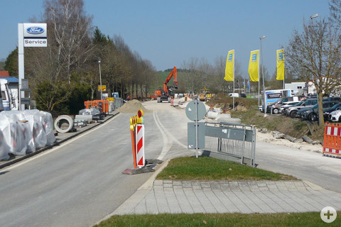 Blick vom Kreisverkehr Kleine Breite Richtung Baldingen in die Baustelle.