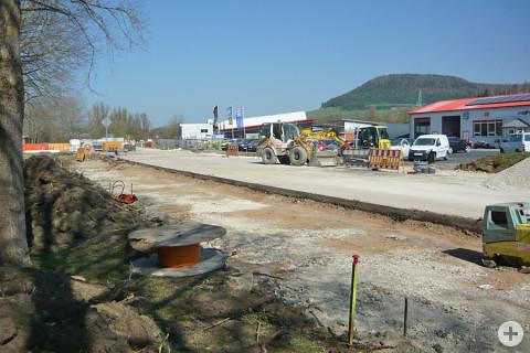 Baustelle der K5942 auf Höhe des Autohauses Strauch