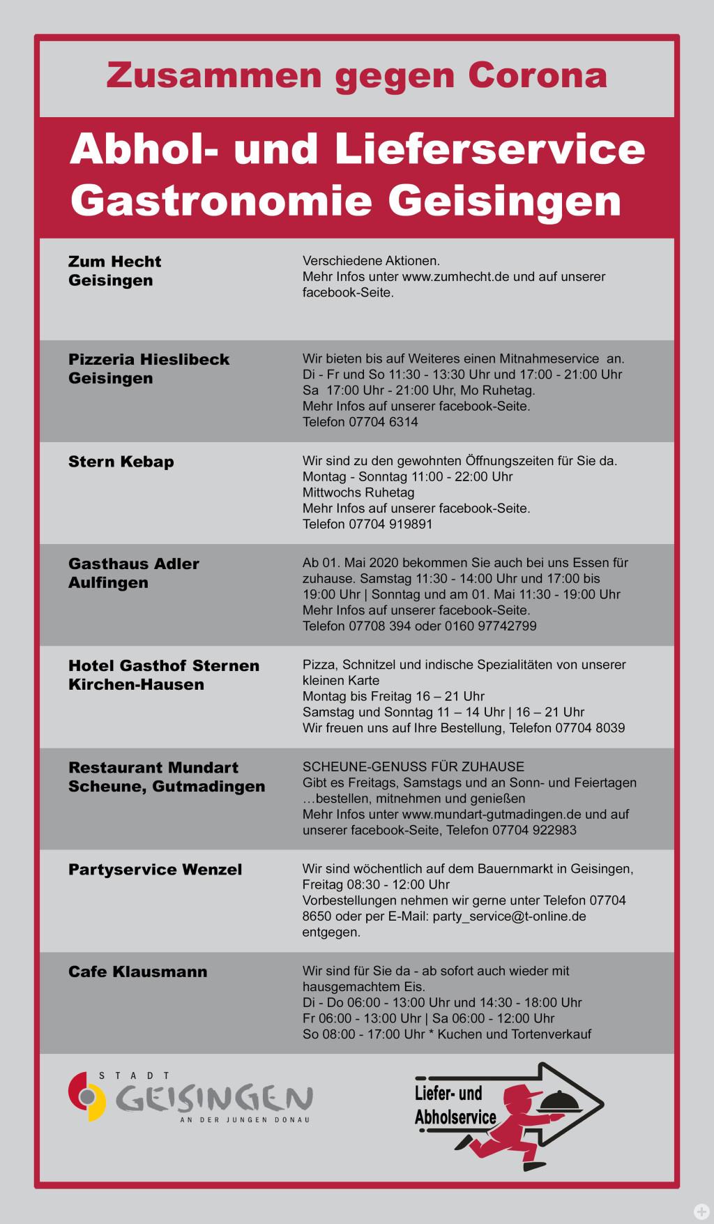 Flyer Abhol- und Lieferservice Gastronomie Geisingen
