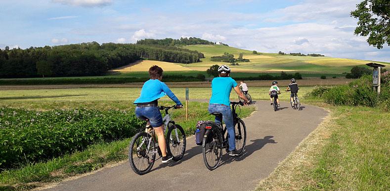 Radfahrer, die den Donauradweg befahren - im Hintergrund der Wartenberg bei Geisingen